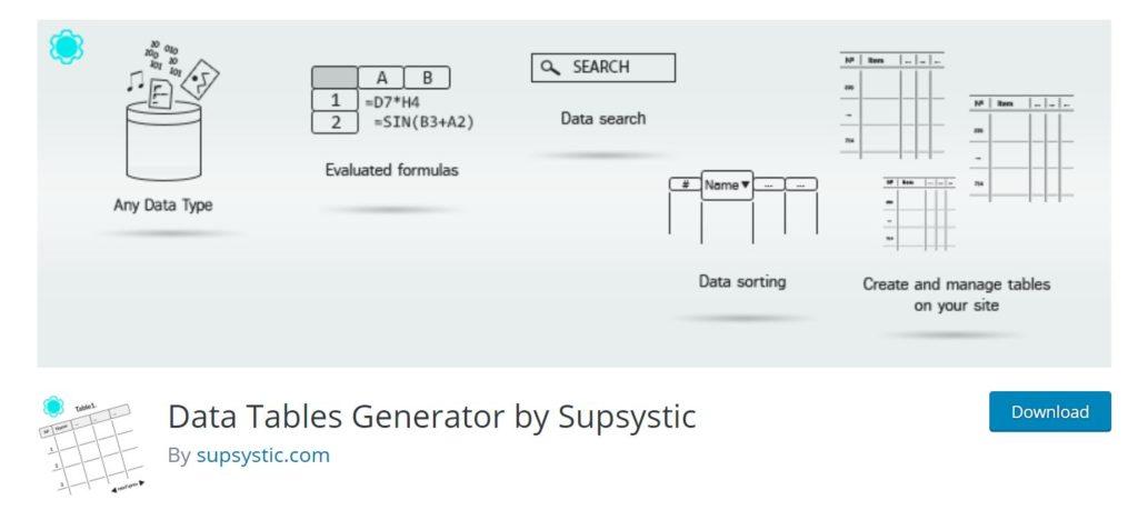 Data tables generator is one of the best wordpress data visualization plugin