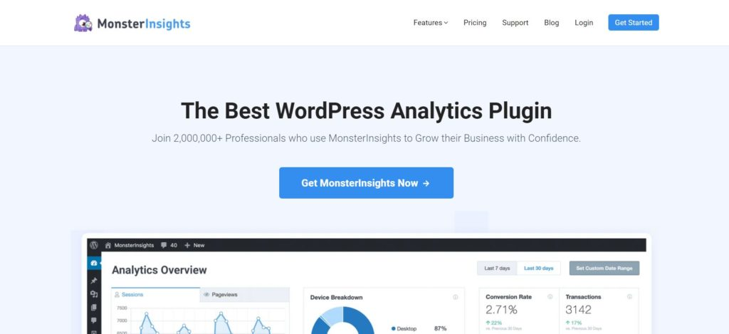 Monsterinsights is a analytics plugin for wordpress that helps in data visualization in the form of charts and tables