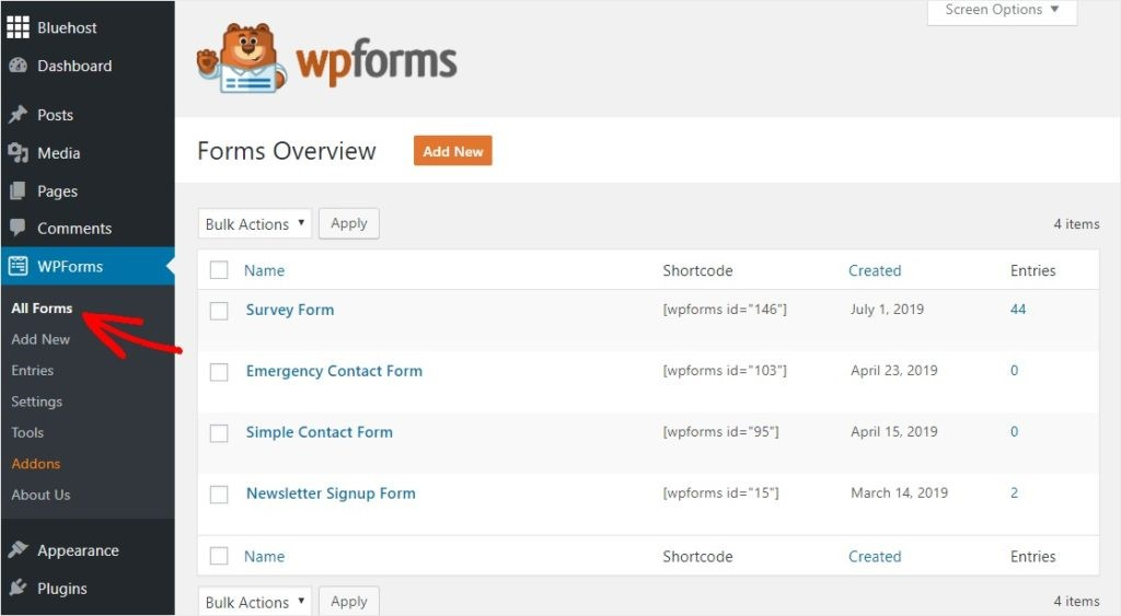 First Step Click on WP forms and go to the settings