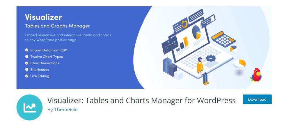 Visualizaer wordpress plugin displays your data in interactive charts