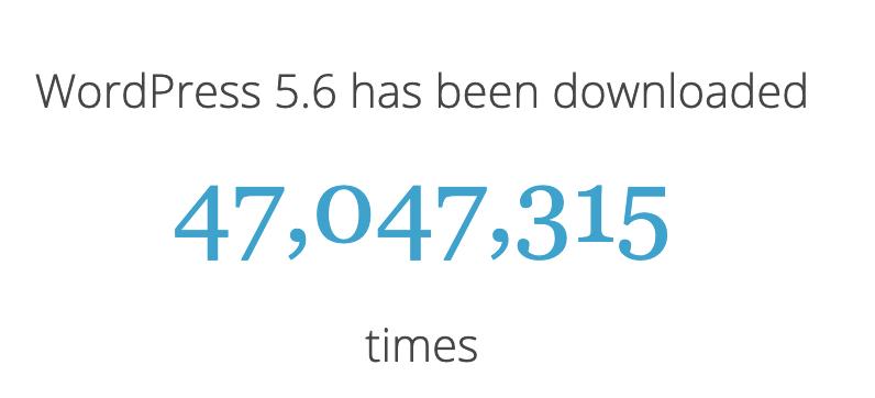 Number of downloads for WordPress 5.6 version statistics