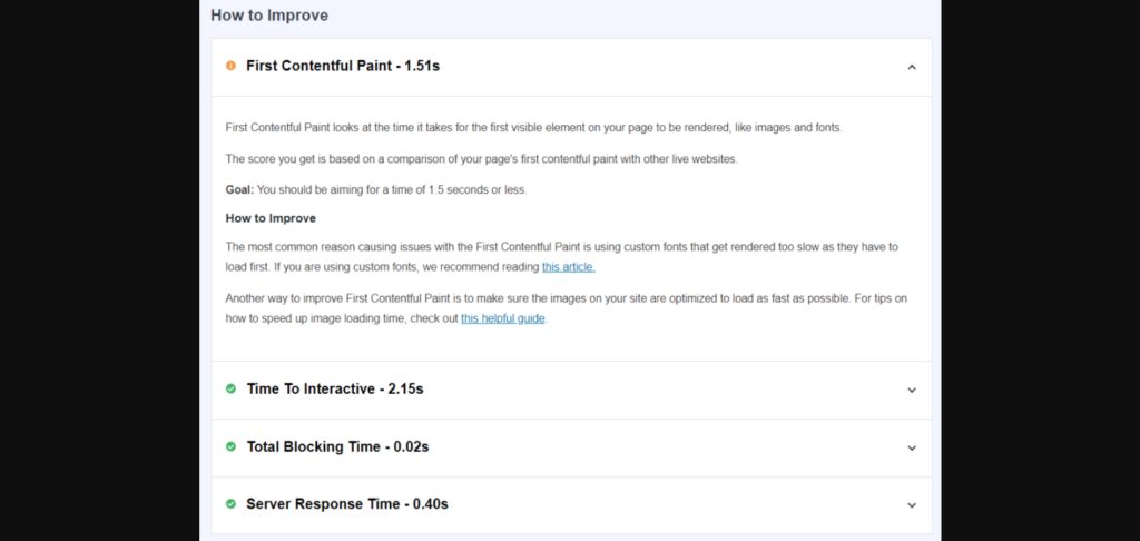 MonsterInsights suggestion to improve websites core web vitals score