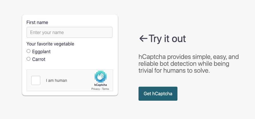 hCaptcha in action - best reCAPTCHA alternative