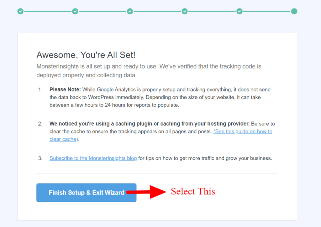 Google Analytics successfully installed using MonsterInsights