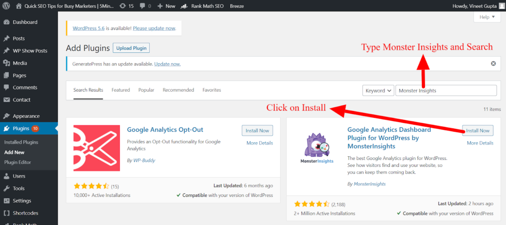 Search for the MonsterInsights Plugin.