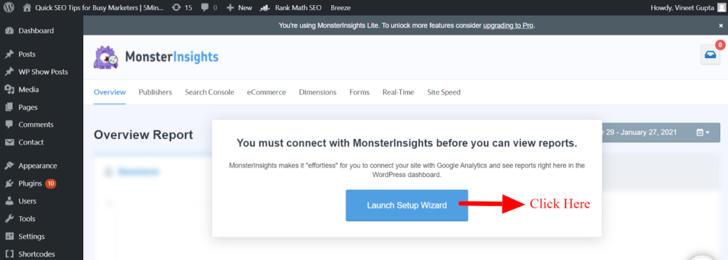 Click on Launch Setup Wizard