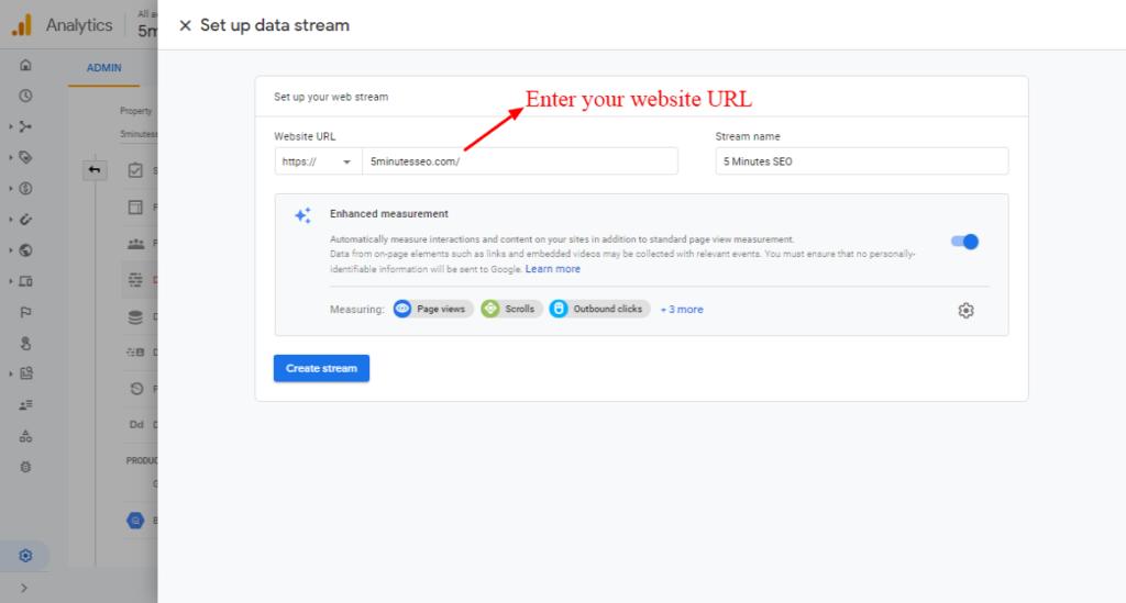 Enter Your Website's URL