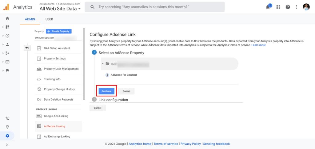 Select an AdSense Property- Google Analytics
