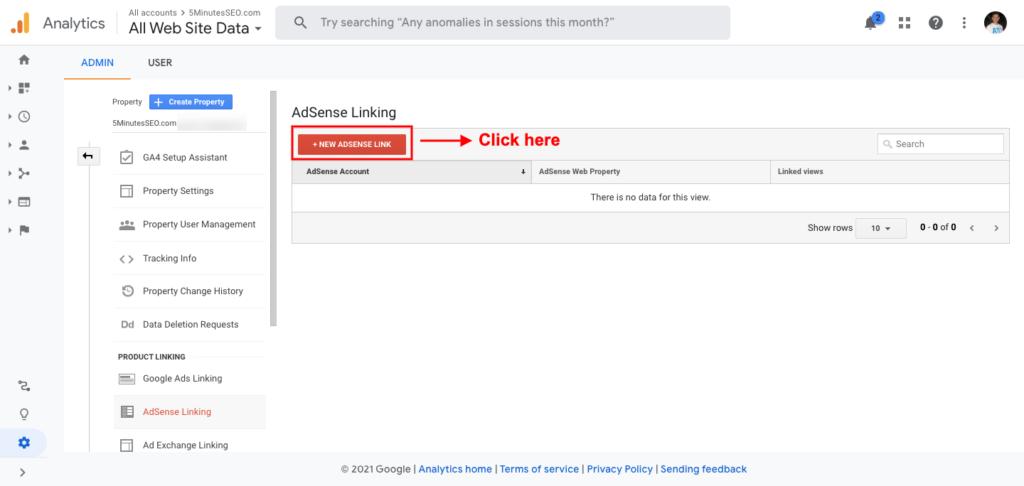 Click on New AdSense Link