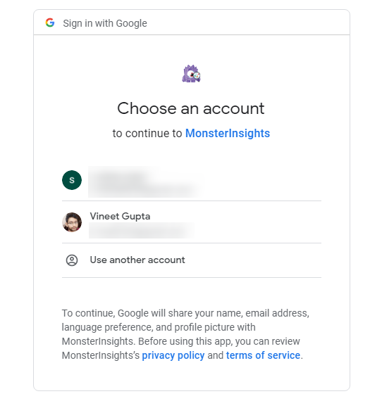 MonsterInsights- Select your Google Account