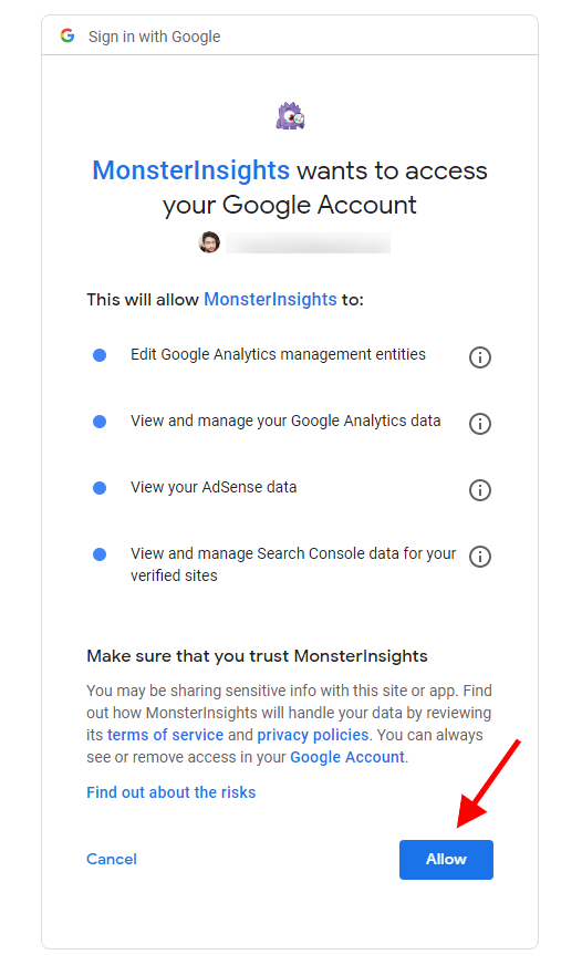 MonsterInsight- Allow Access to Google Account
