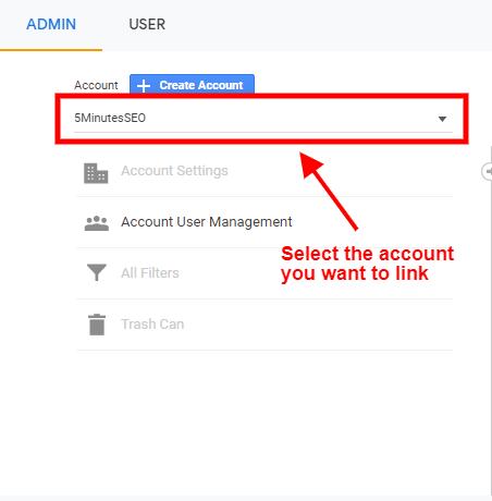 Select Your Account- Google Analytics