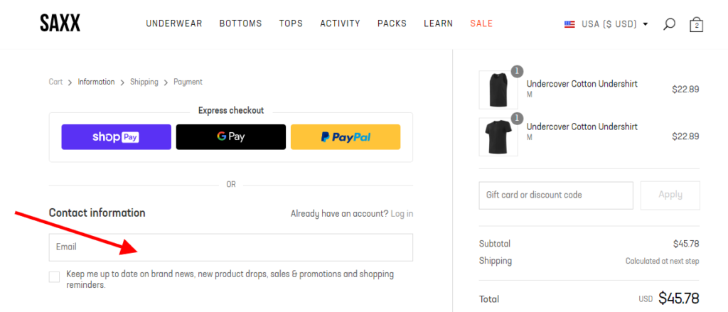 E-commerce Company can Acquire Customer's Email Addresses During the Checkout Process