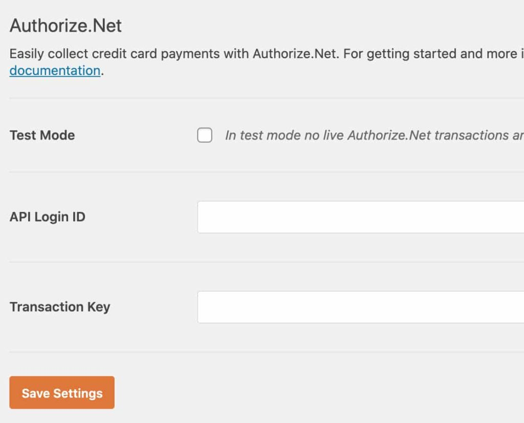 Fill out all the details in Authorize.net section