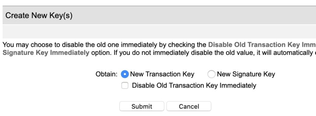 Select New Transaction Key