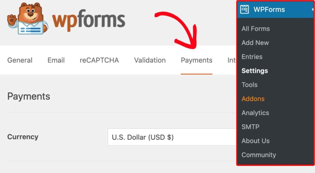 Click on Payments Tab & select the currency