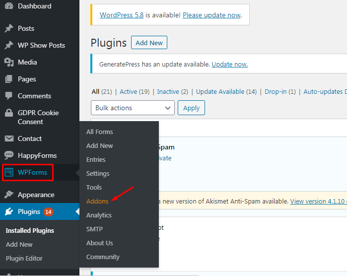 Go to wpforms and click on Addons