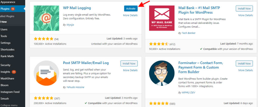 activate WP mail logging