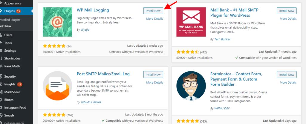 install WP mail logging plugin