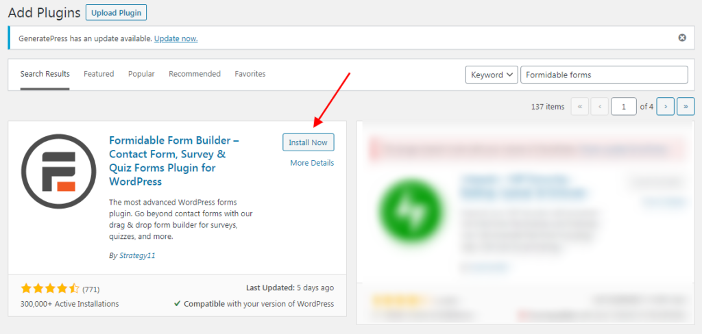 Search for Formidable forms and then click on Install Now