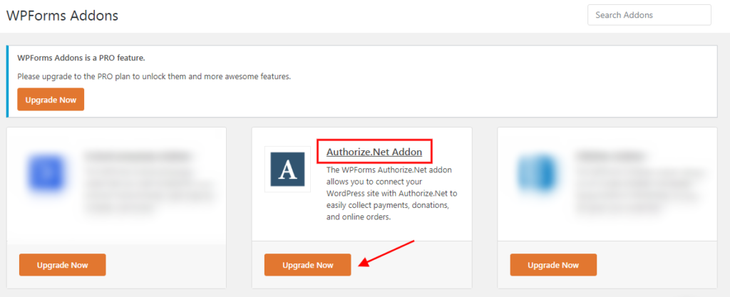 Click on Upgrade Now to get Authorize.net addon
